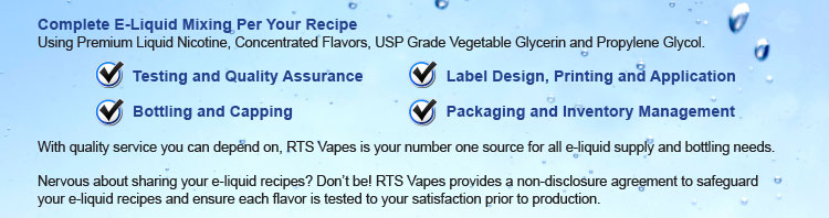 Complete E-Liquid Mixing Per Your Recipe Using Premium Liquid Nicotine, Concentrated Flavors, USP Grade Vegetable Glycerin and Propylene Glycol. Testing and Quality Assurance and Label Design, Printing and Application and Bottling and Capping and Packaging and Inventory Management With quality service you can depend on, Nicotine Giant as your number one source for all e-liquid supply and bottling needs. Nervous about sharing your e-liquid recipes? Don't be! Nicotine Giant provides a non-disclosure agreement to safeguard your e-liquid recipes and ensure each flavor is tested to your satisfaction prior to production.