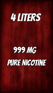 4 LITERS of 999 mg Flavorless Nicotine Liquid
